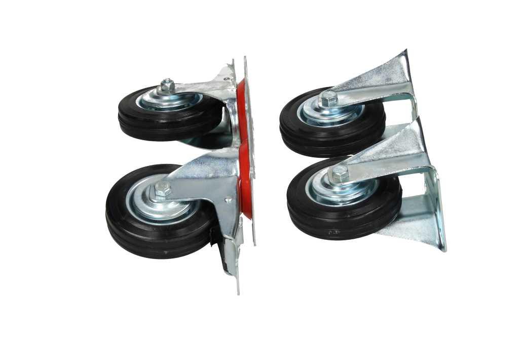 transportrollen rollen gummi bockrollen lenkrollen mit bremse 4er set 100 mm ebay. Black Bedroom Furniture Sets. Home Design Ideas