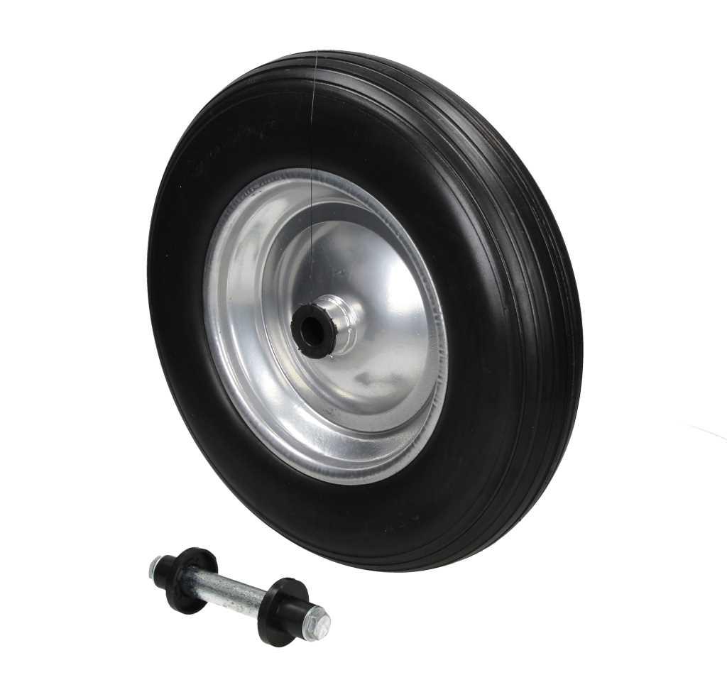 roue de secours brouette noir 350 pu avec axe. Black Bedroom Furniture Sets. Home Design Ideas